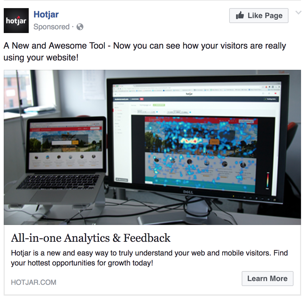 facebook ad example learn more