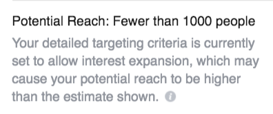 facebook advertising low potential reach