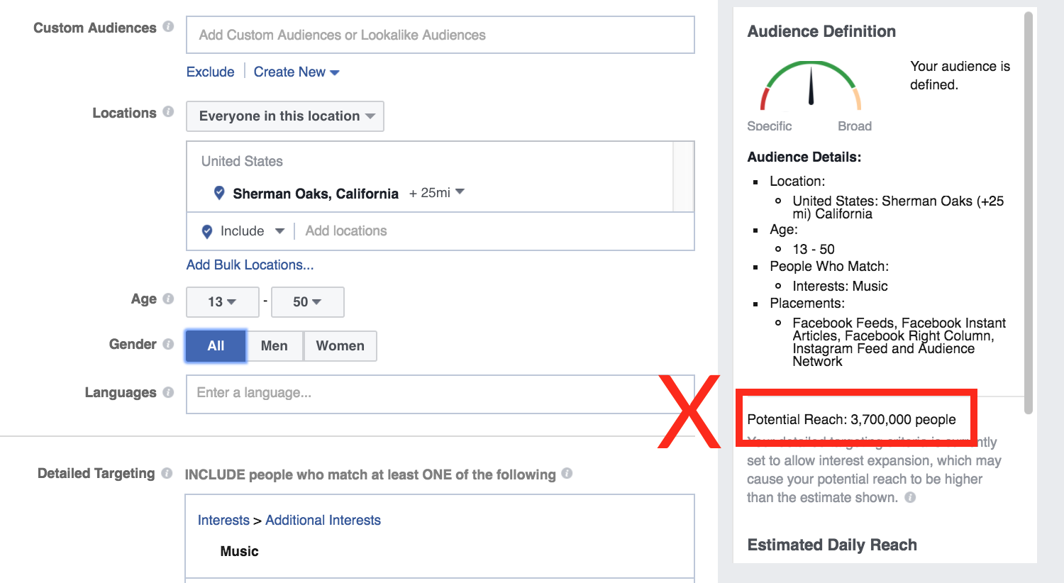 facebook advertising potential reach