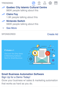 facebook advertising right column