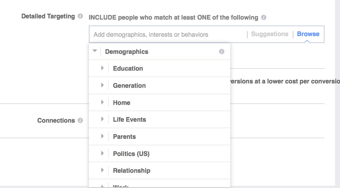 facebook targeting demographic
