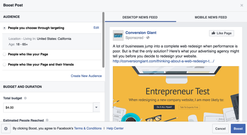 facebook ad example boost post
