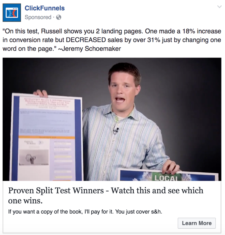 facebook ad example video views
