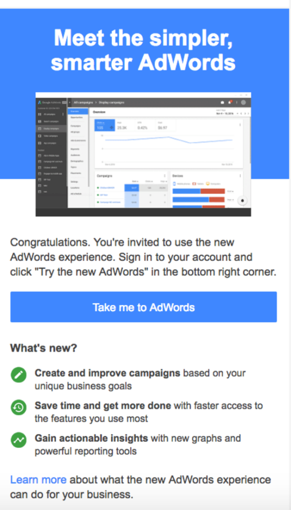 new google adwords 2017