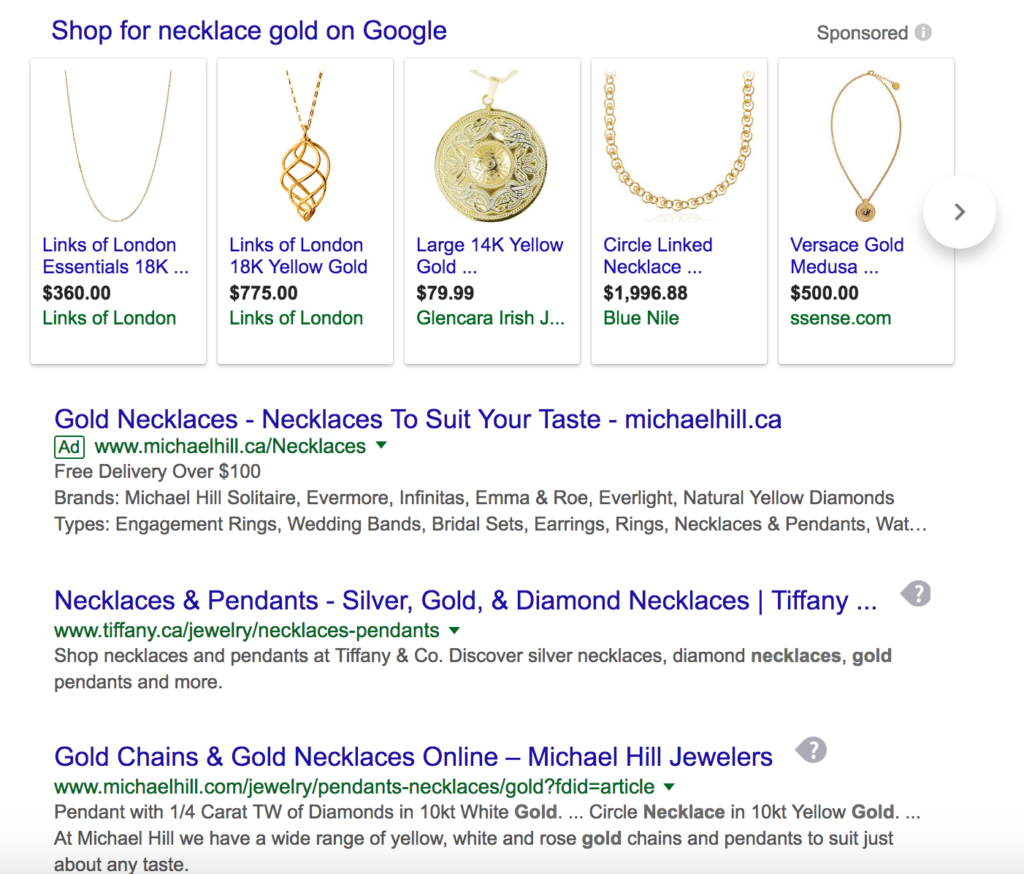 shopping campaign necklace example